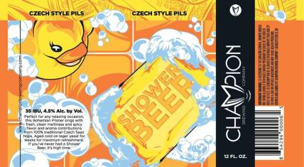 Champion Shower Beer Label Art